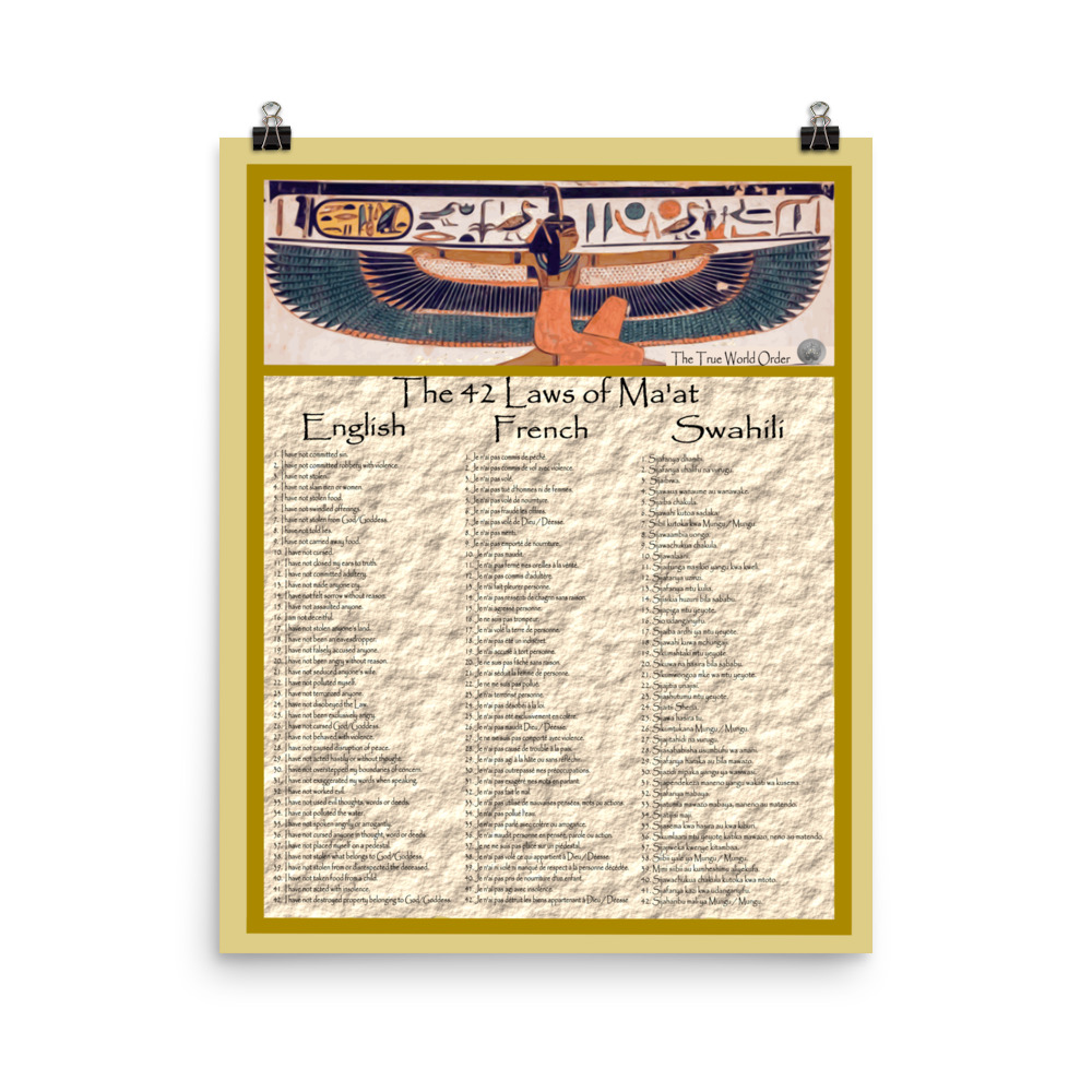 """The True World Order """"42 Laws of Ma'at"""" in English, French, Swahili Photo  Paper Poster"""